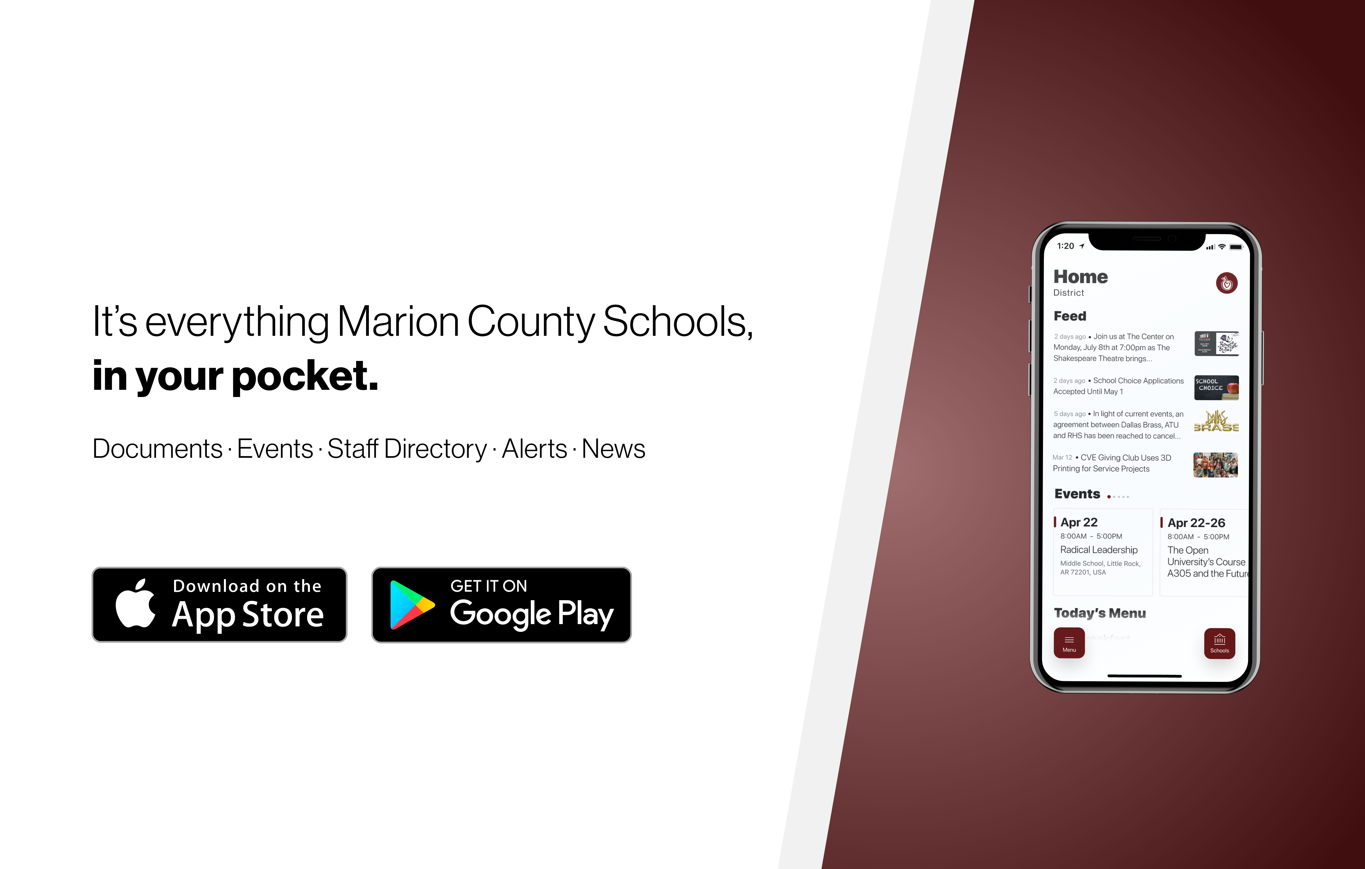 """An advertisement for Marion County School's new app. The ad reads, """"Everything Marion County Schools, in your pocket."""""""