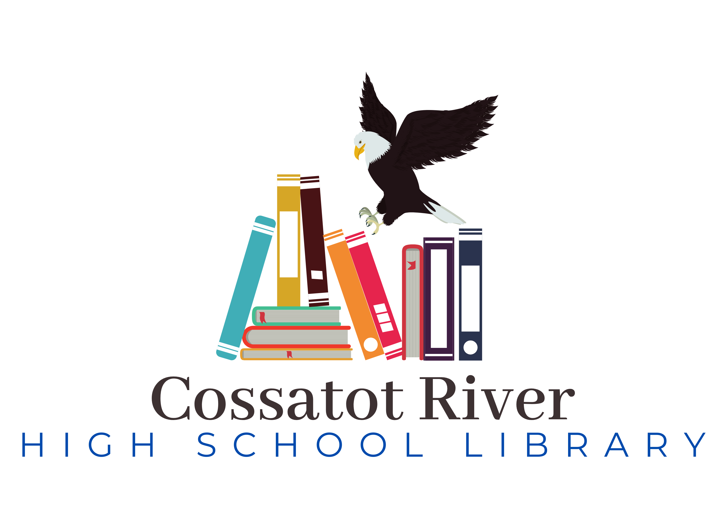 photo of an eagle on books that says cossatot river high school library