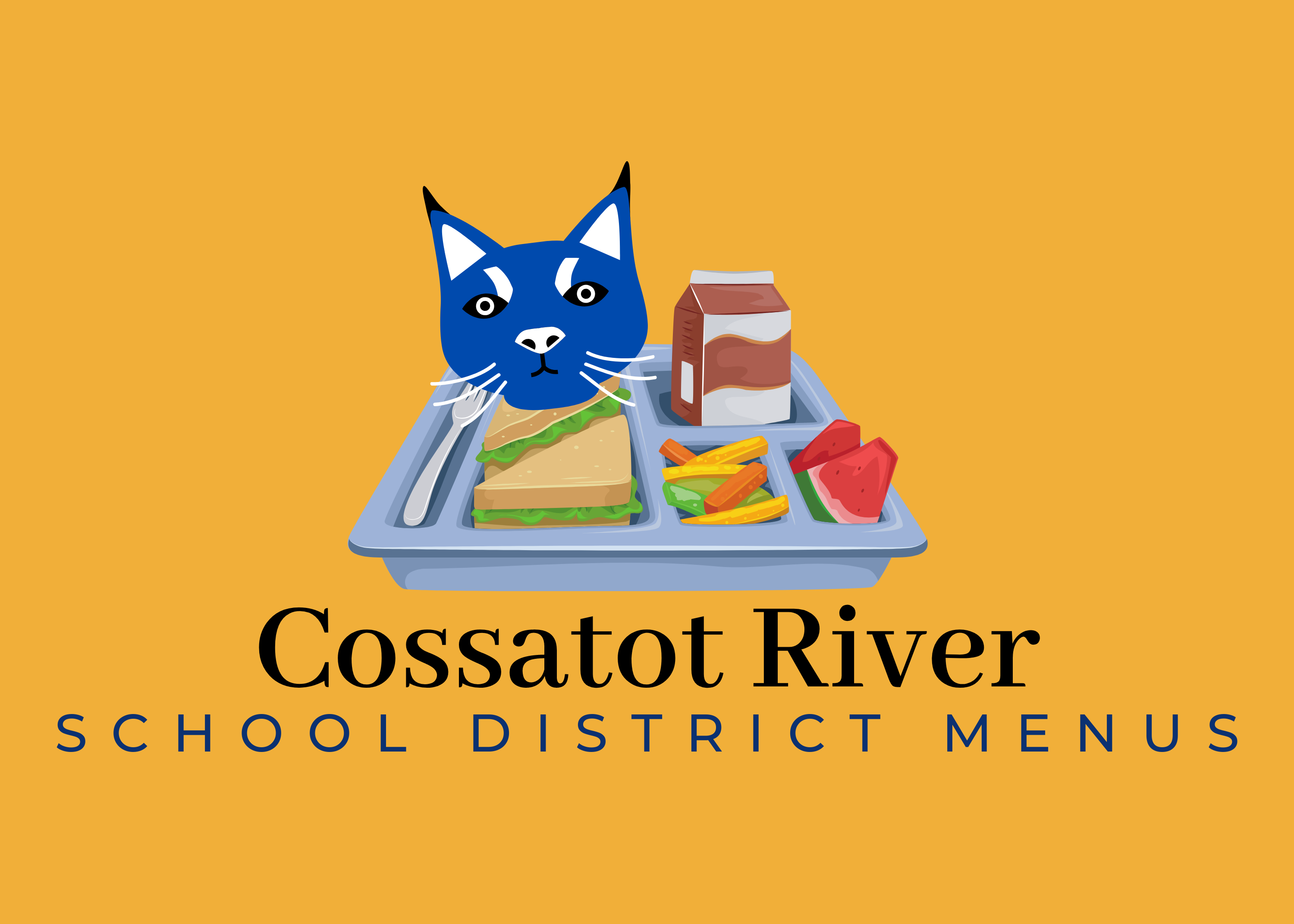 photo of a school lunch that says cossatot river school district menus