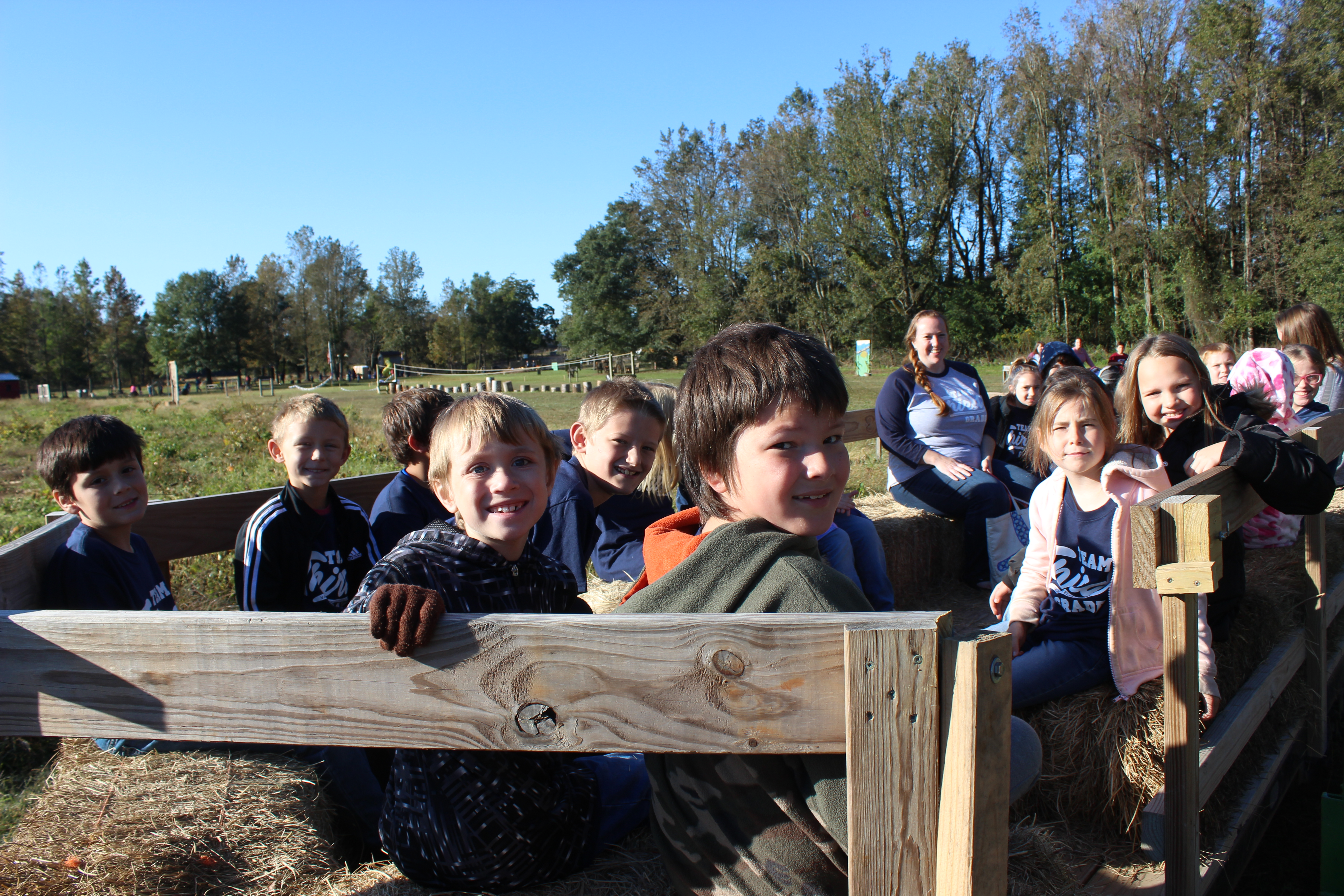 photo of students on a hay ride