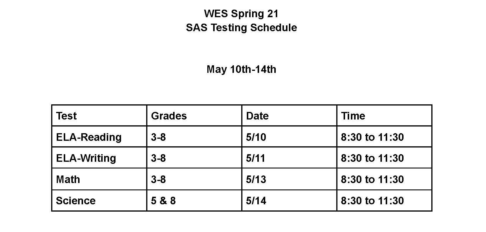 SAS Testing Schedule