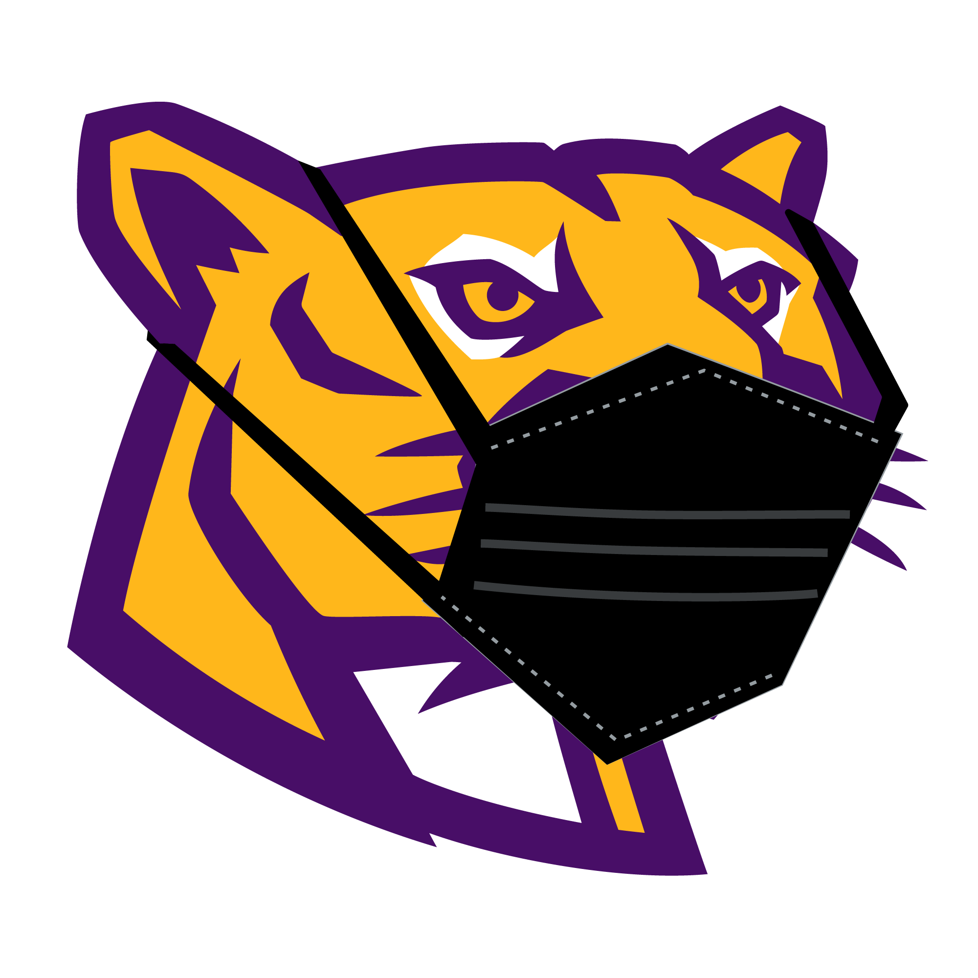 Affton Cougar with a face mask