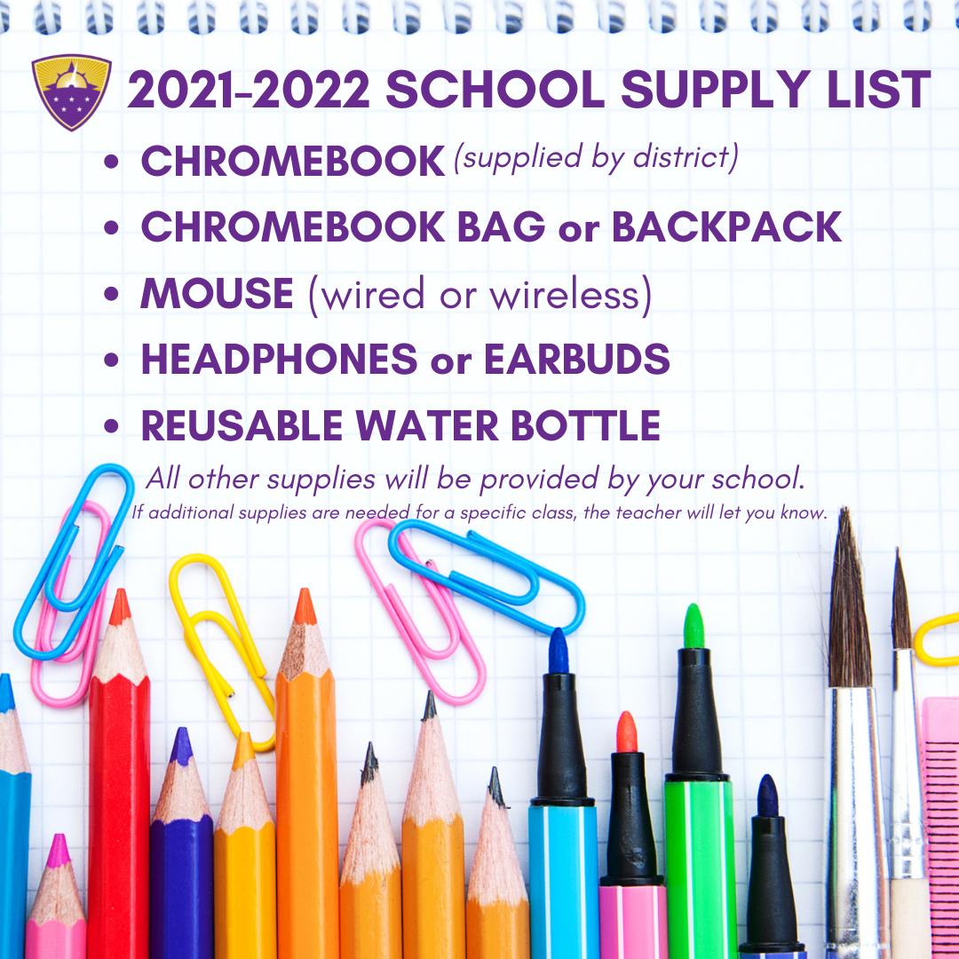 2021-22 School Supply List graphic