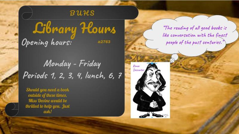 An image of Library hours information.