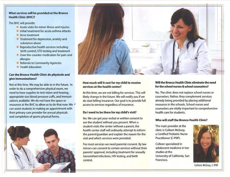 Bronco Health Clinic brochure.