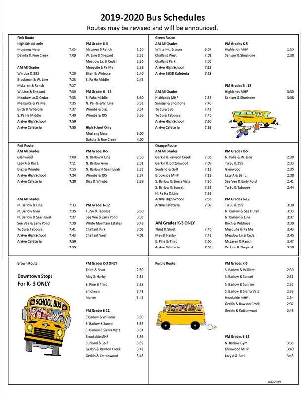 2019 - 2020 Bus Schedules