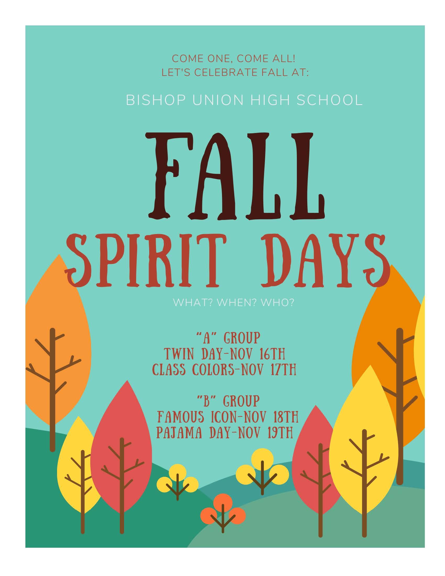 Fall Spirit Days