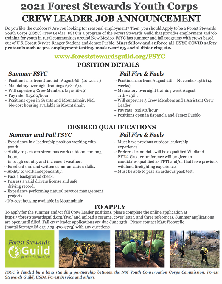 Advertisement for Student Forestry jobs.