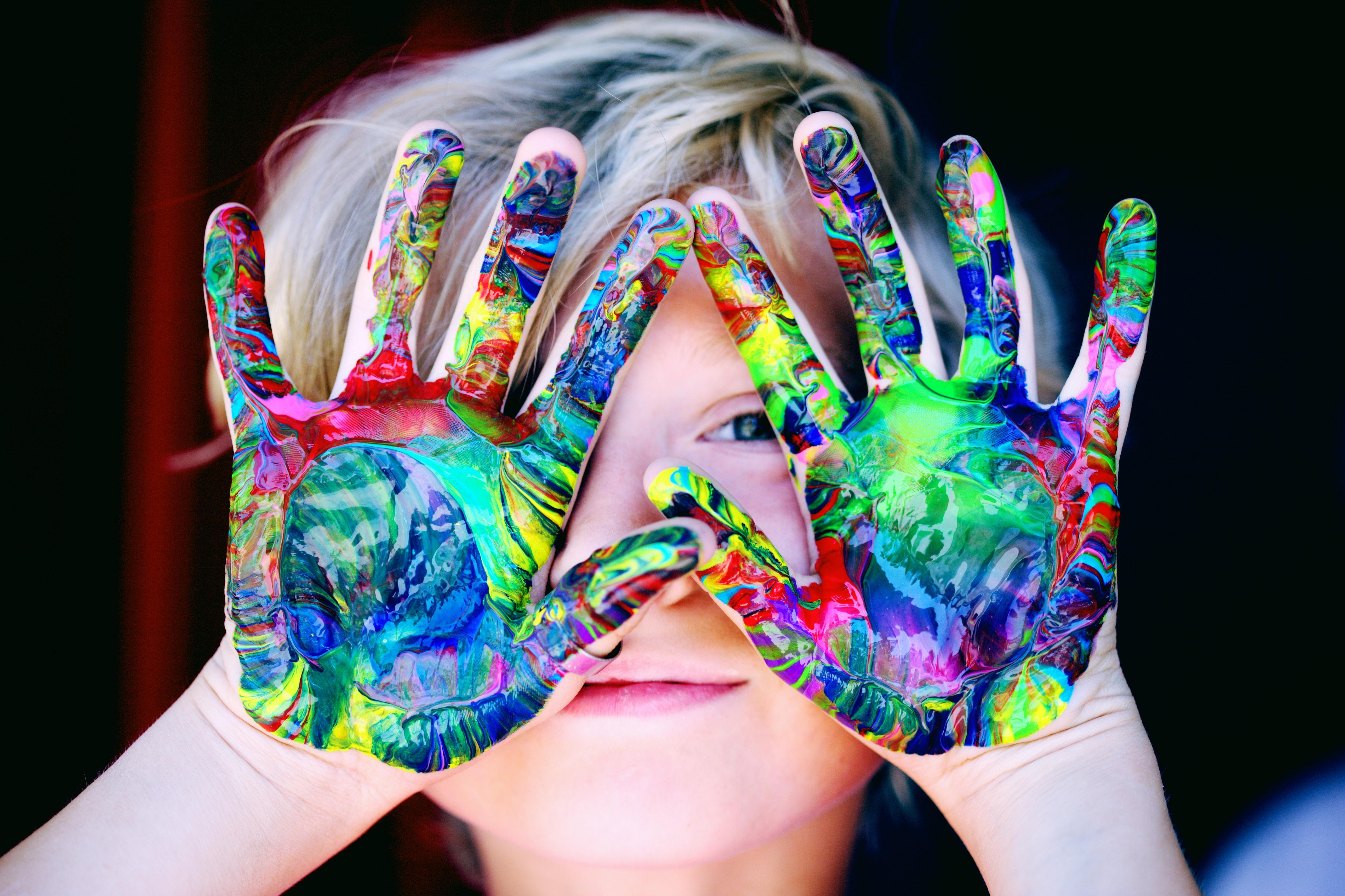 painted childs hands