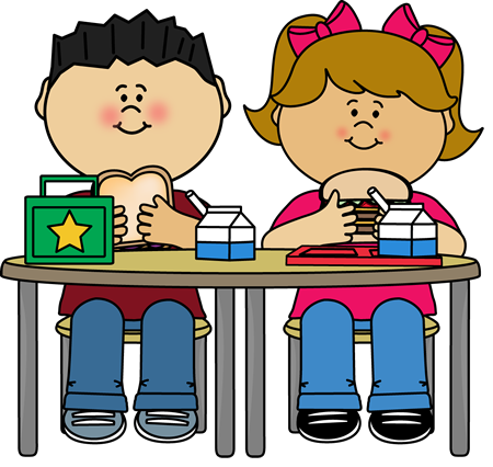 Clipart cartoon of a boy and girl eating school lunches