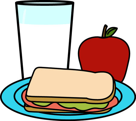 Clipart of milk, apple, and a sandwich on lunch tray
