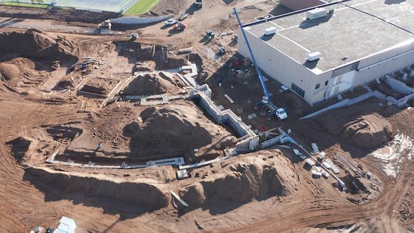Foundation walls, new Mora high school