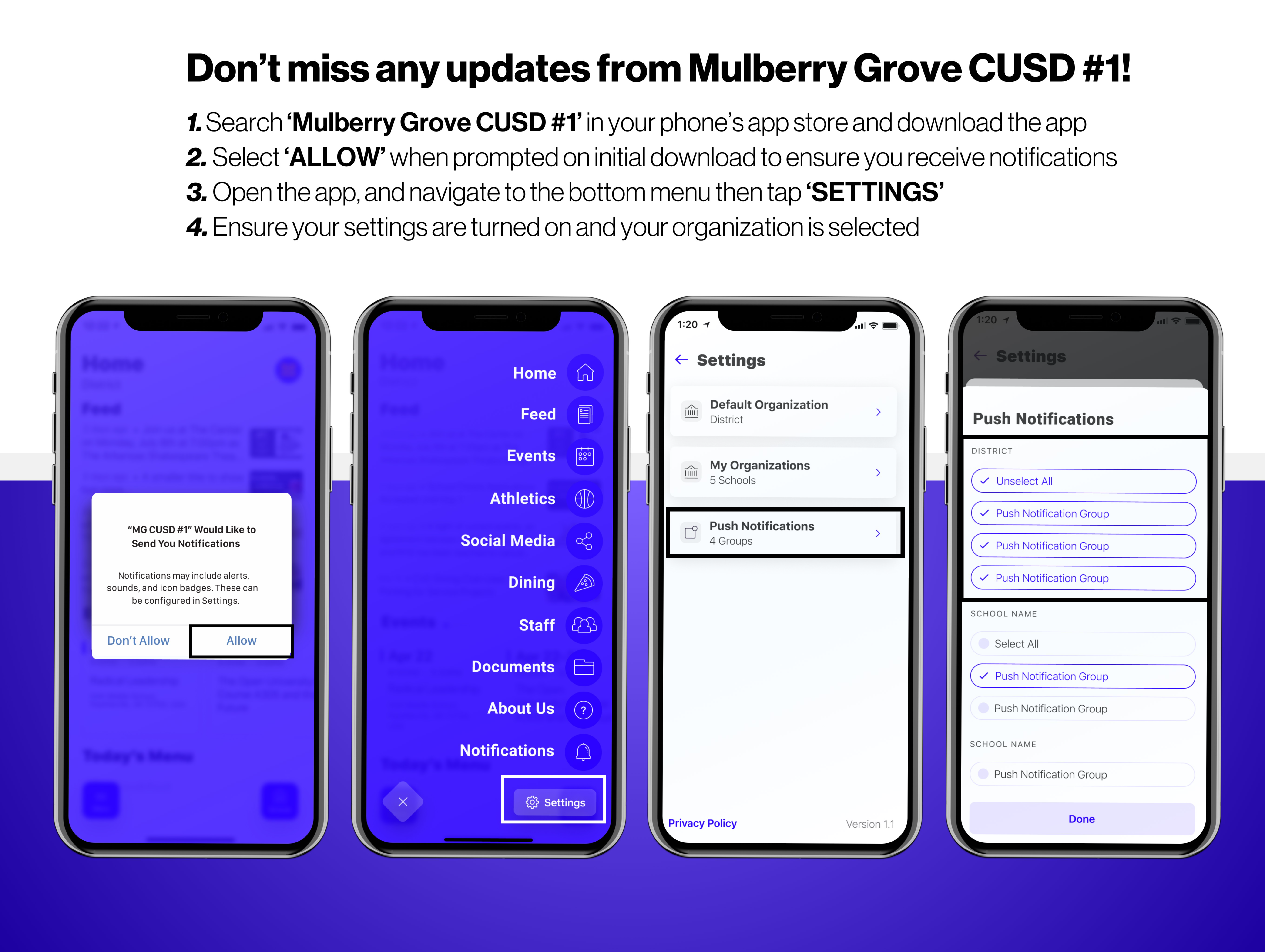 Guide describing how to receive notifications from the mobile app