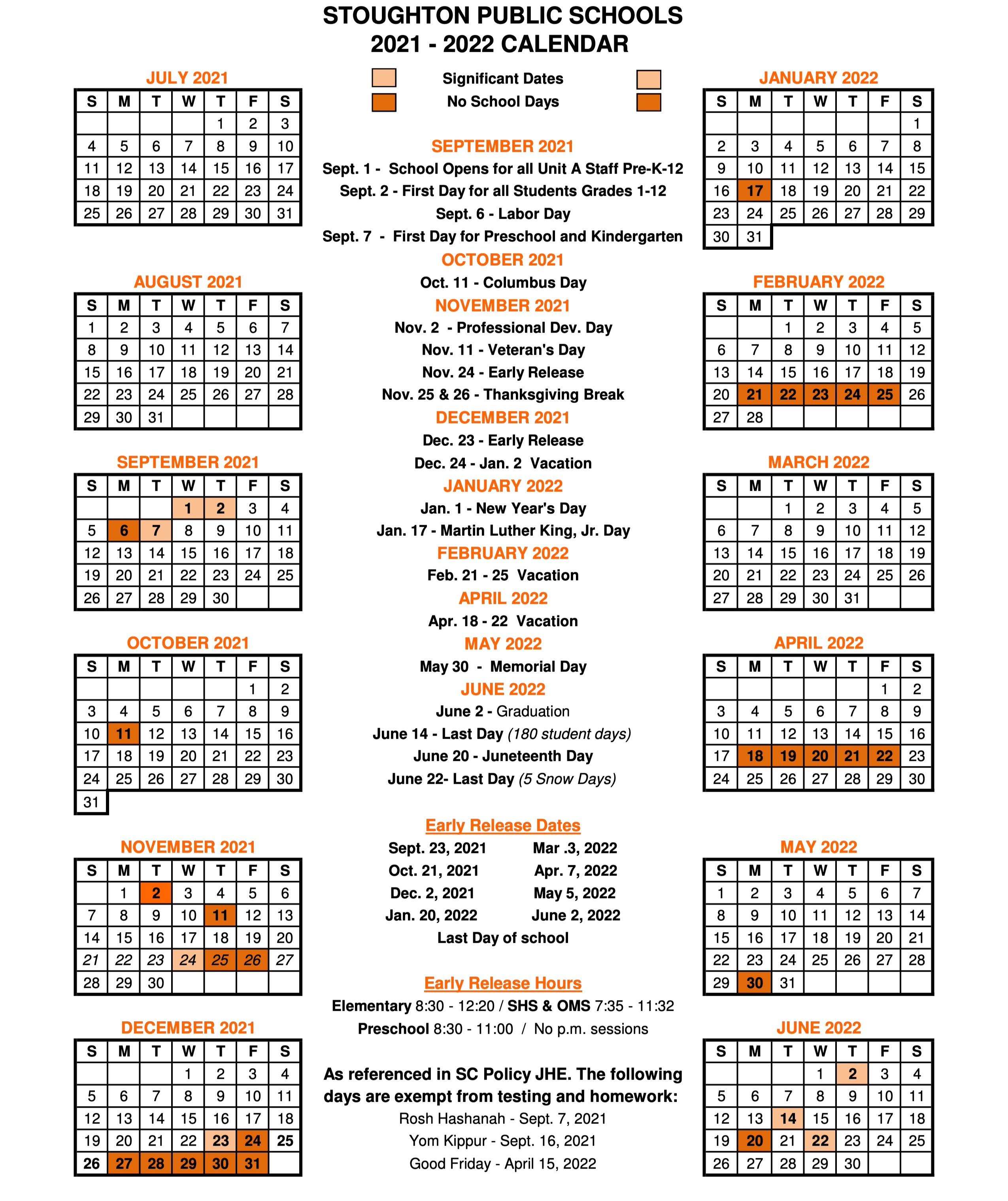 SPS 2021-2022 Calendar