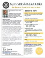 2021 Summer School Credit Recovery brochure