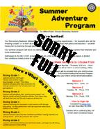 2021 Summer Adventure Program brochure sorry full