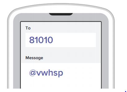 Message @vwhsp to 81010