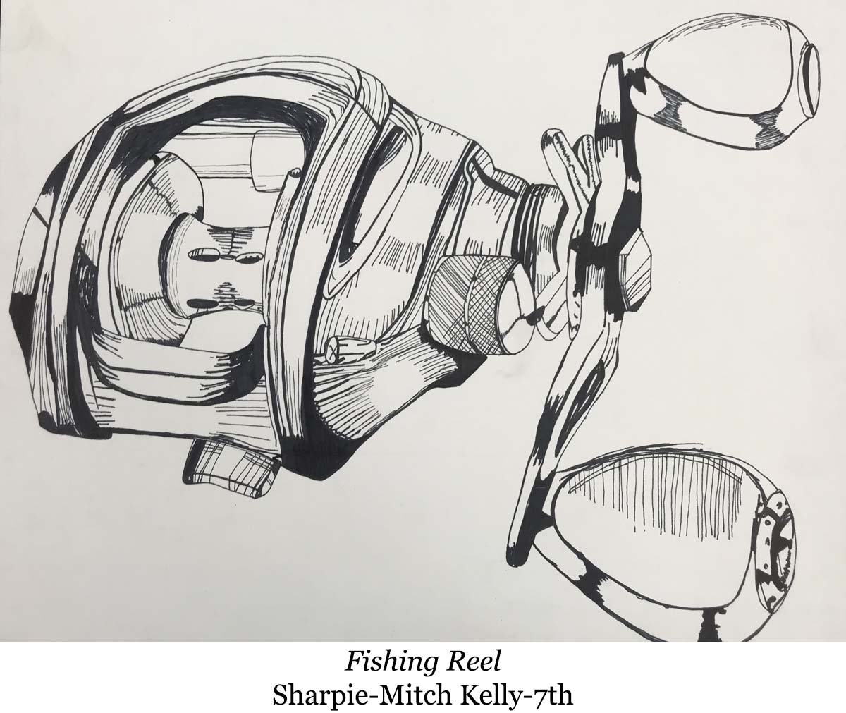 drawing of a fishing reel