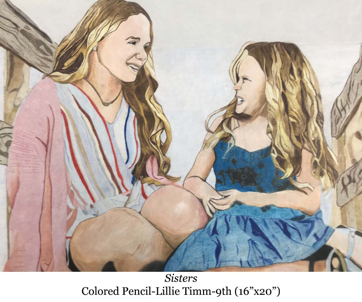a drawing of sisters