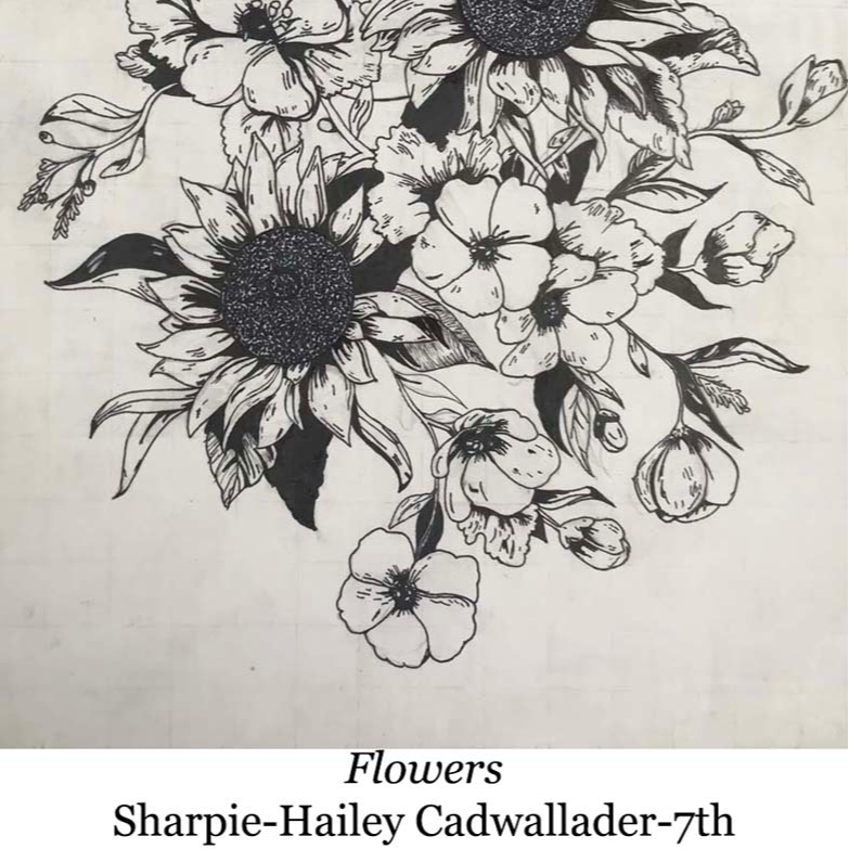 a hand drawing of flowers