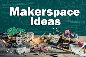 MakerSpace Ideas and electronics on a table
