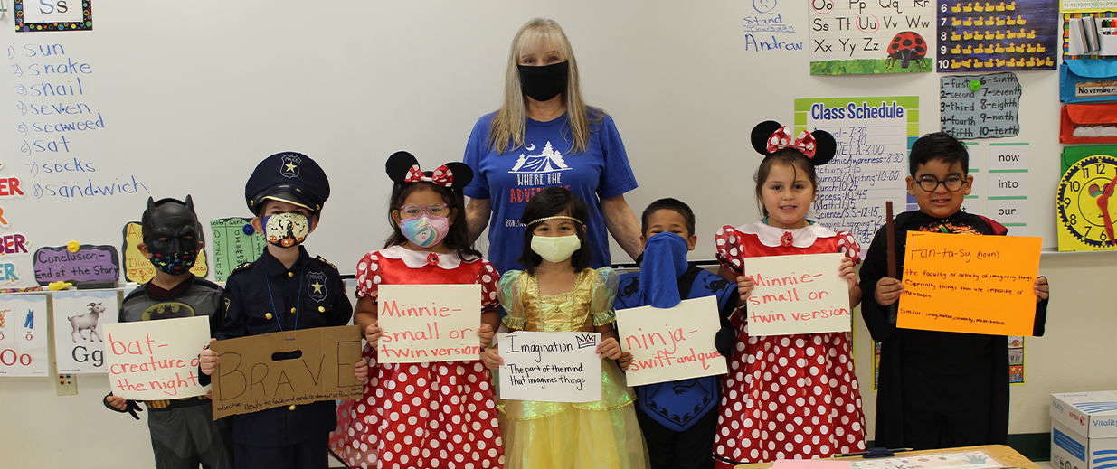 BGE students in costumes