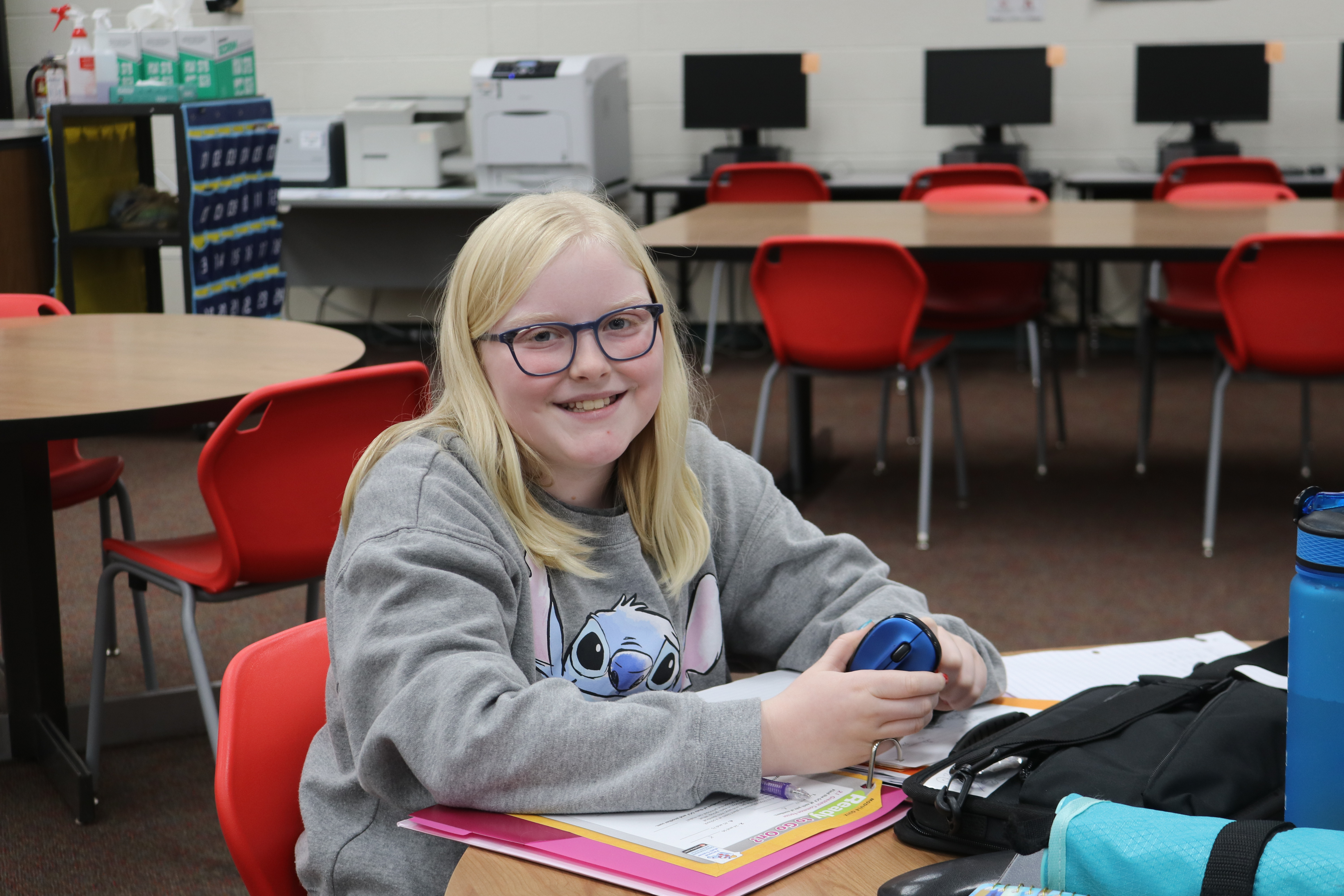TMS student studying in the library.