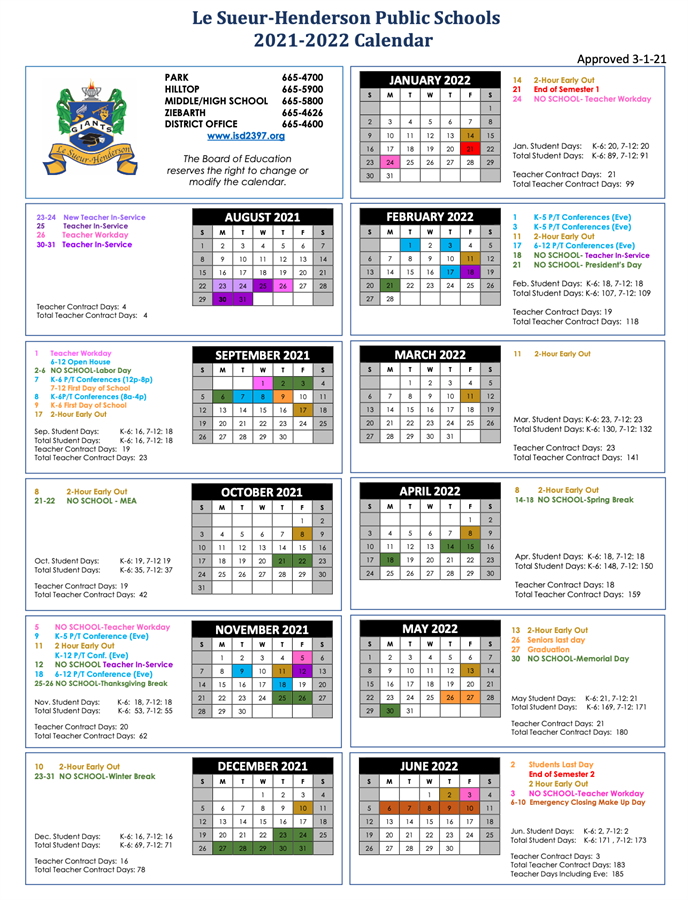 21-2022 Approved District Calendar