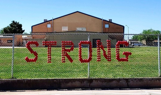 HJHS Strong sign in front of school