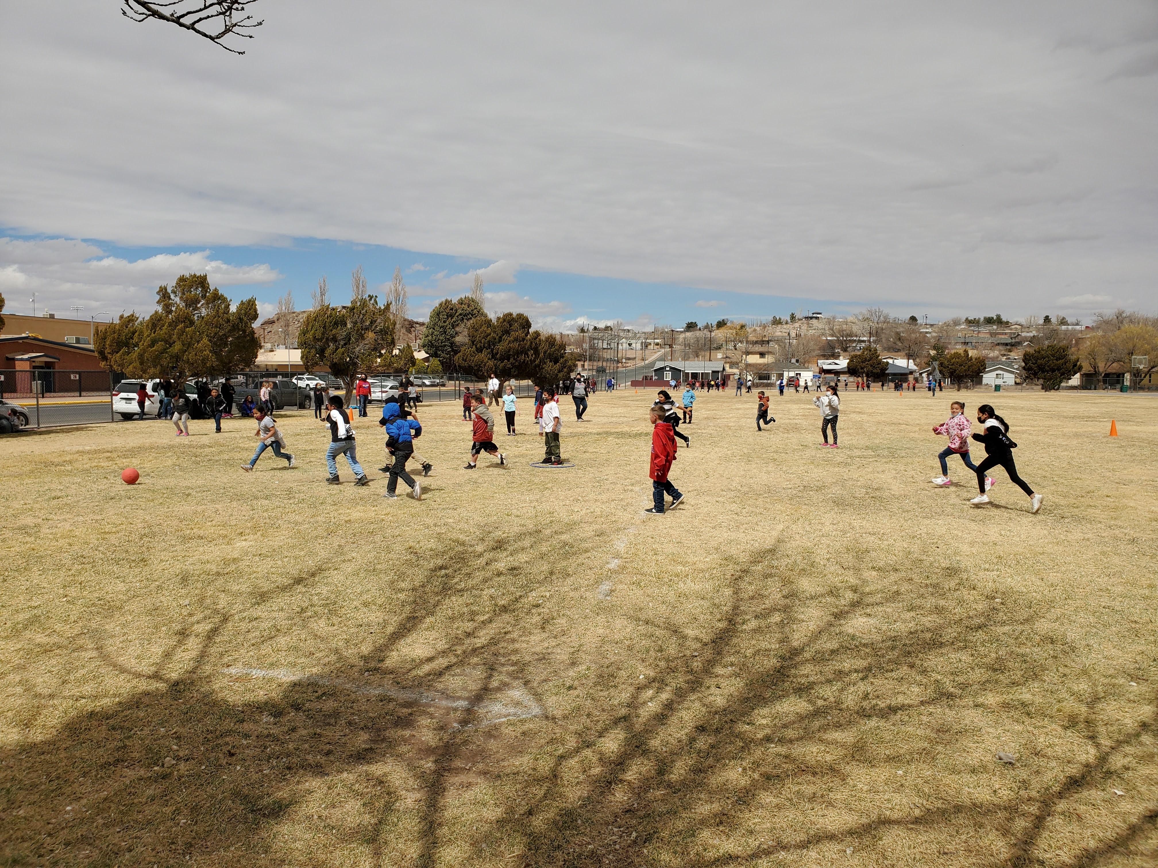 Students Playing Never Ending Kickball