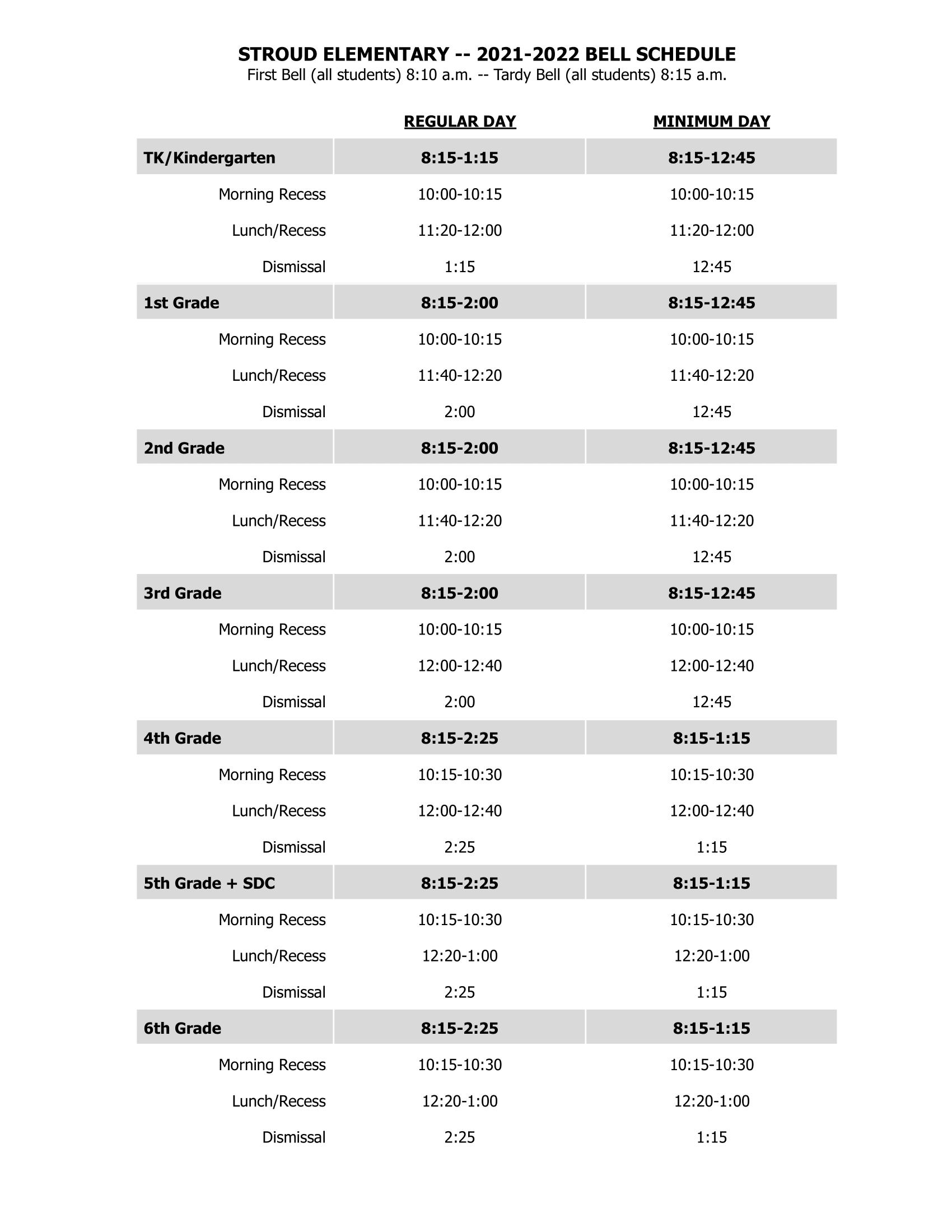 Stroud Bell Schedule
