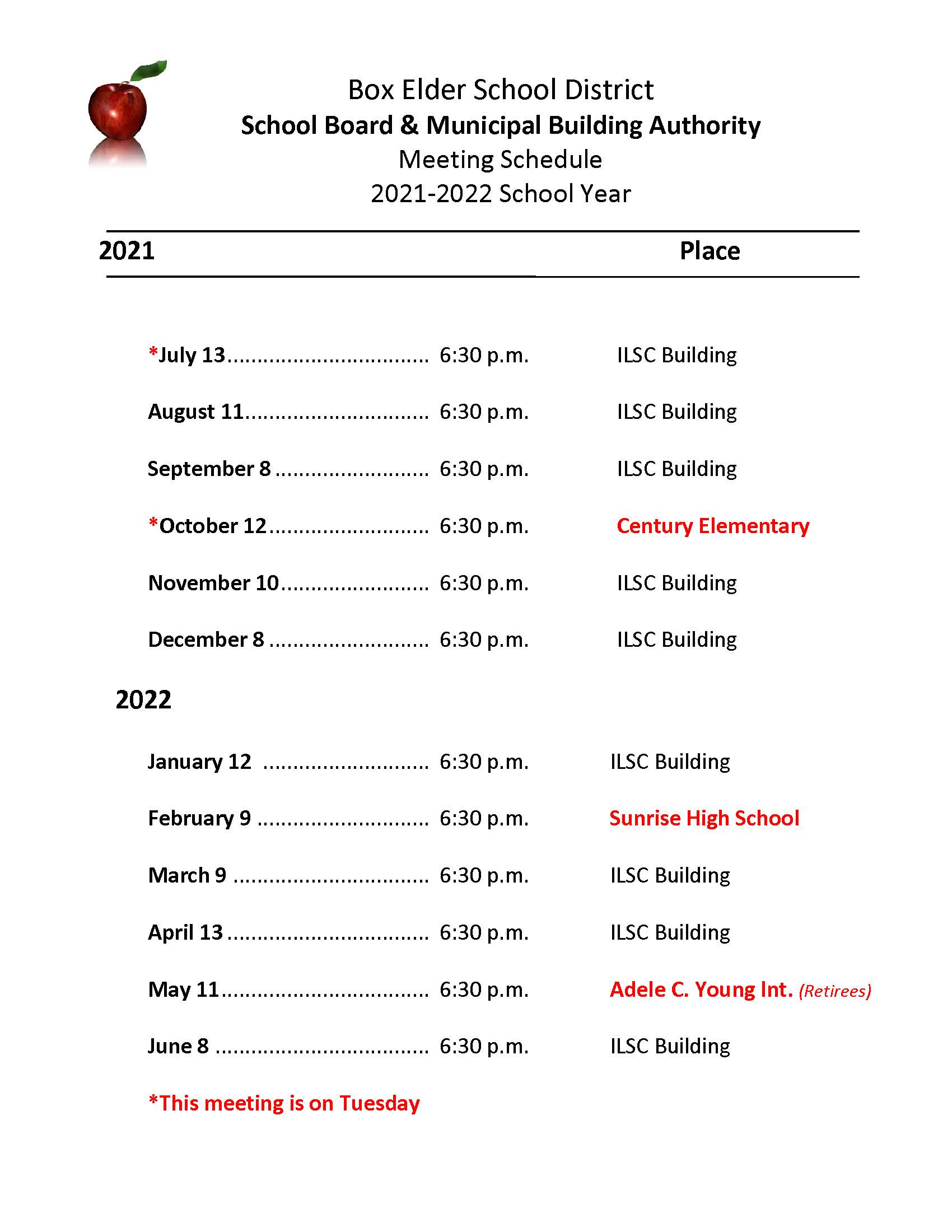 2021-22 School Board Meeting Schedule
