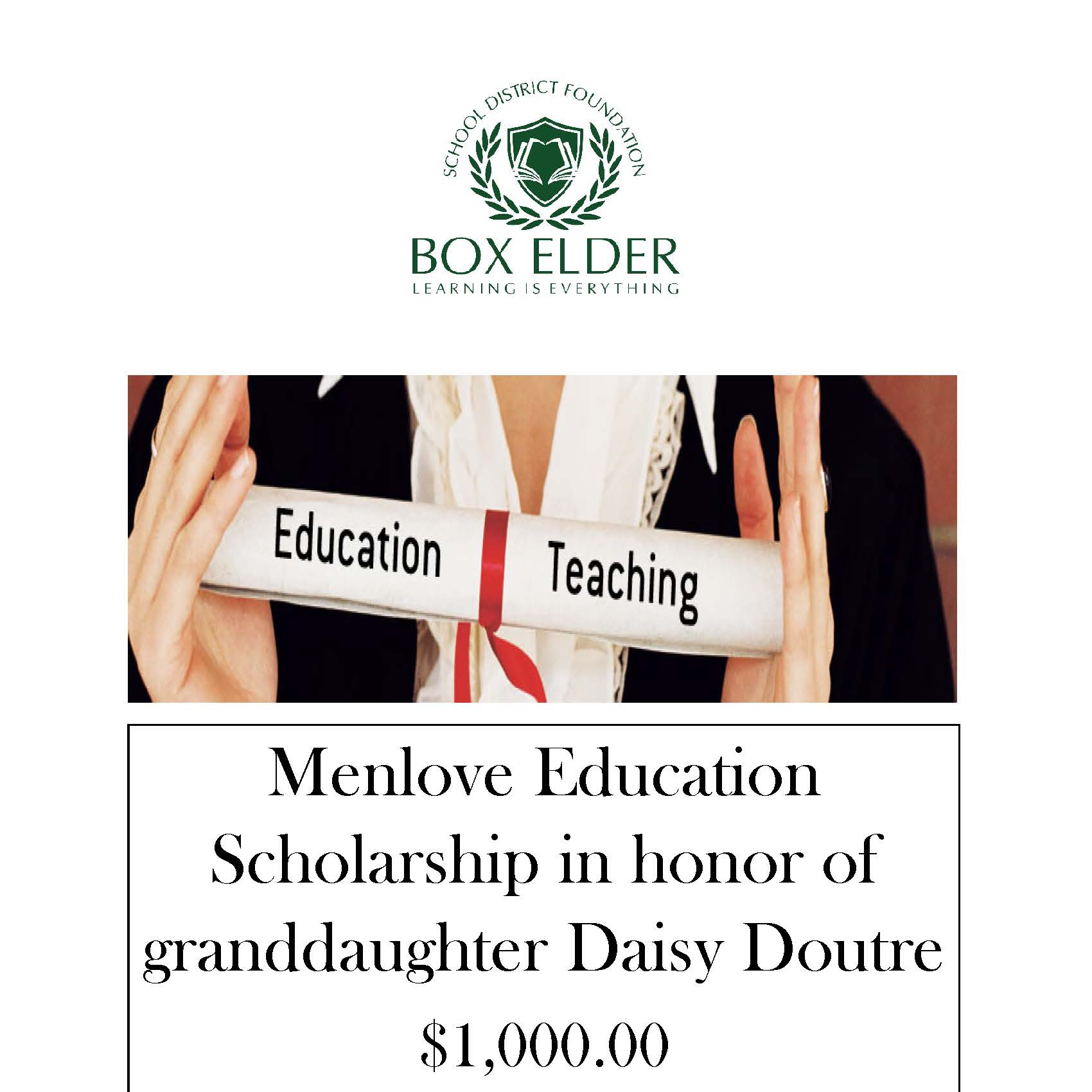 Menlove Education Scholarship