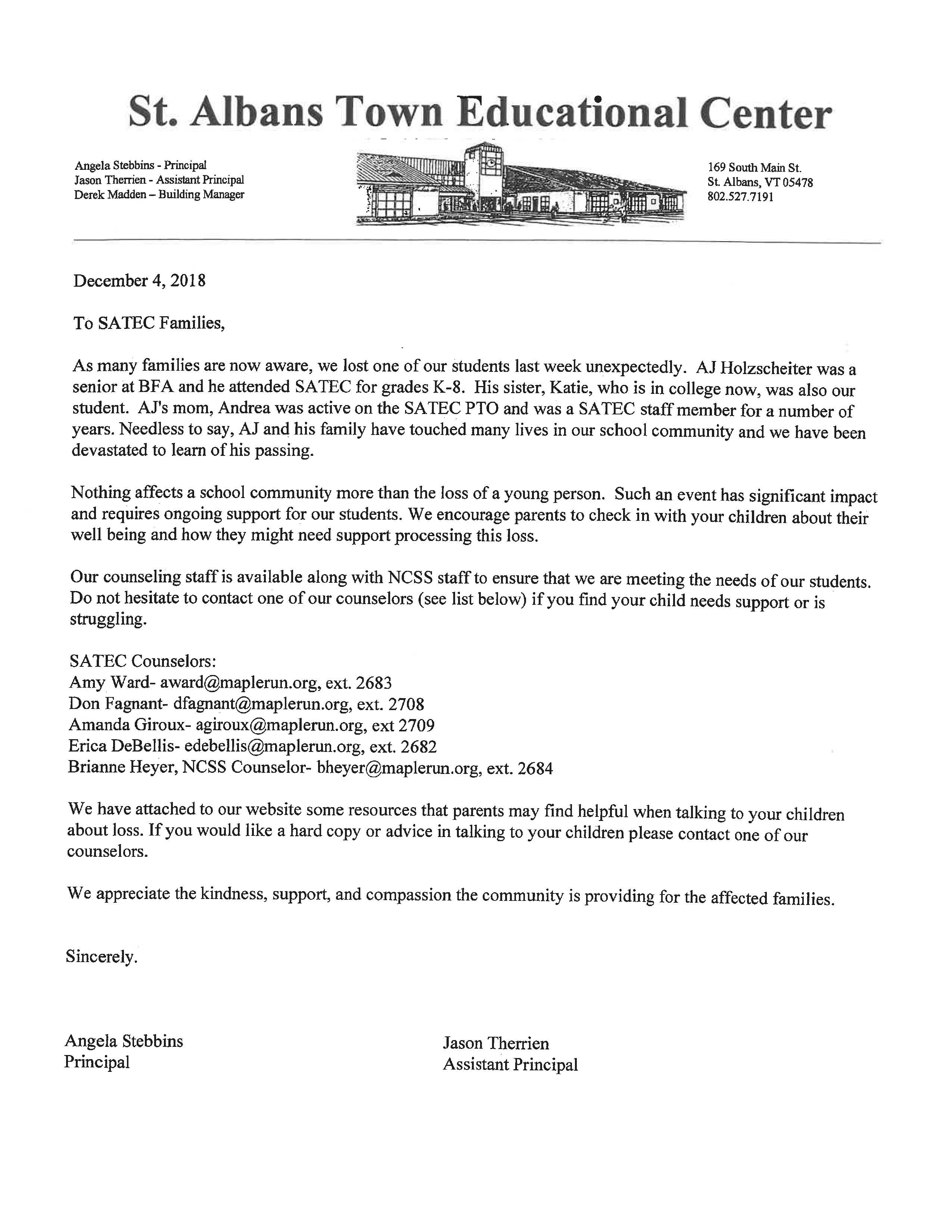 Letter dated December 4, 2018 from Principal Angela Stebbins and Assistant Principal Jason Therrien to SATEC Families