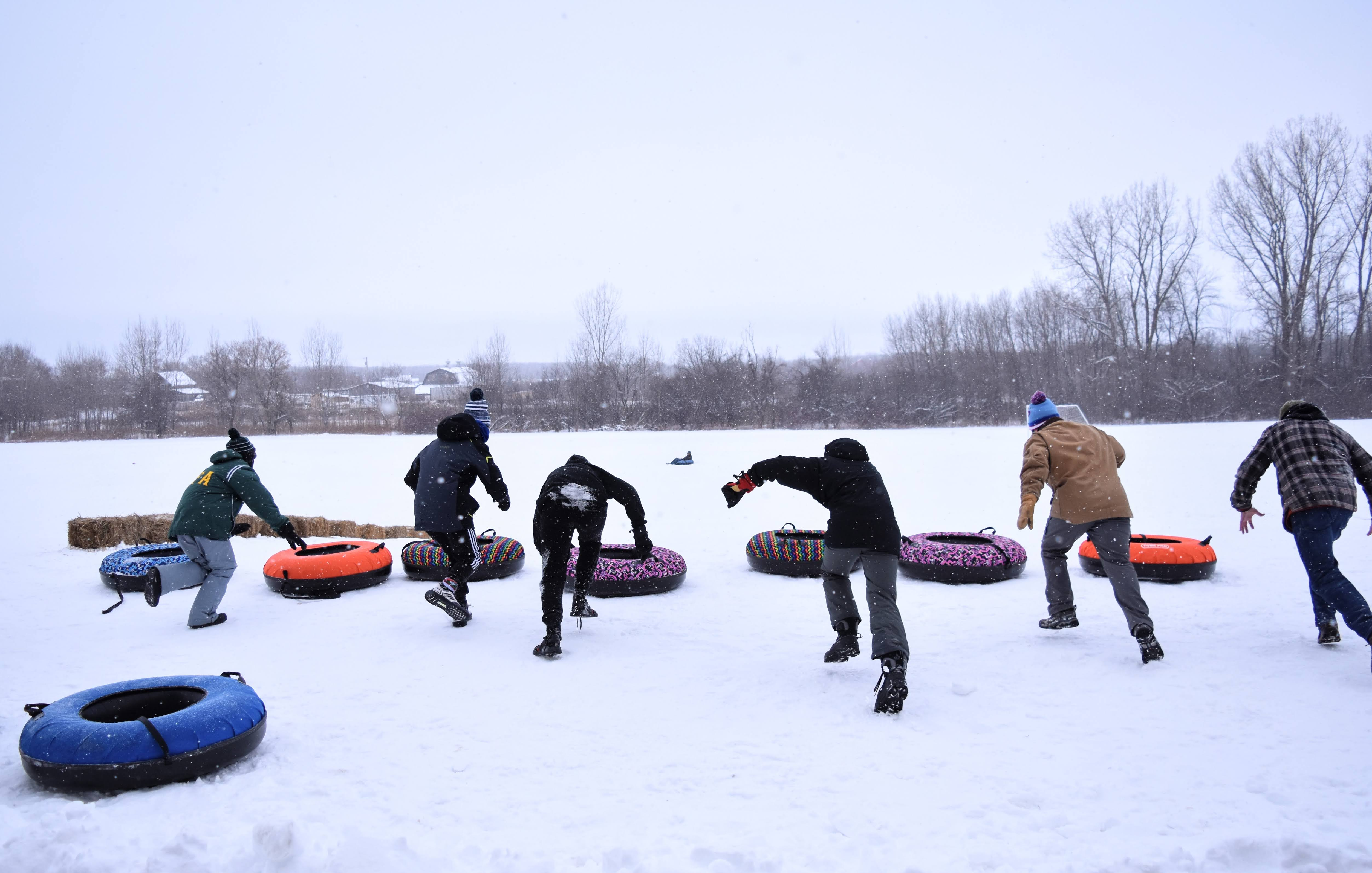 Jumping onto snow tubes