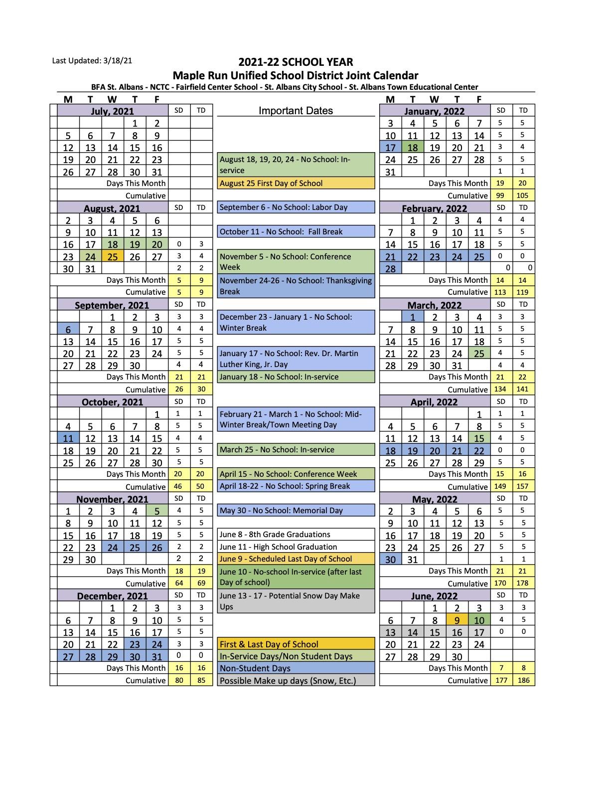 Vt Calendar 2022.21 22 School Calendar Fairfield Center School