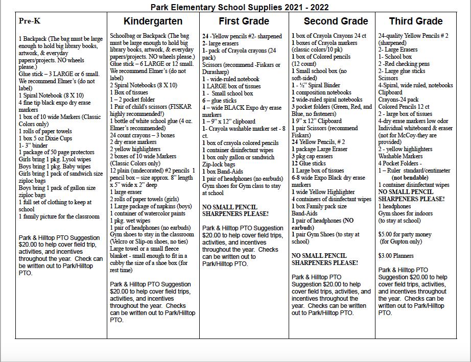Park School Supply List