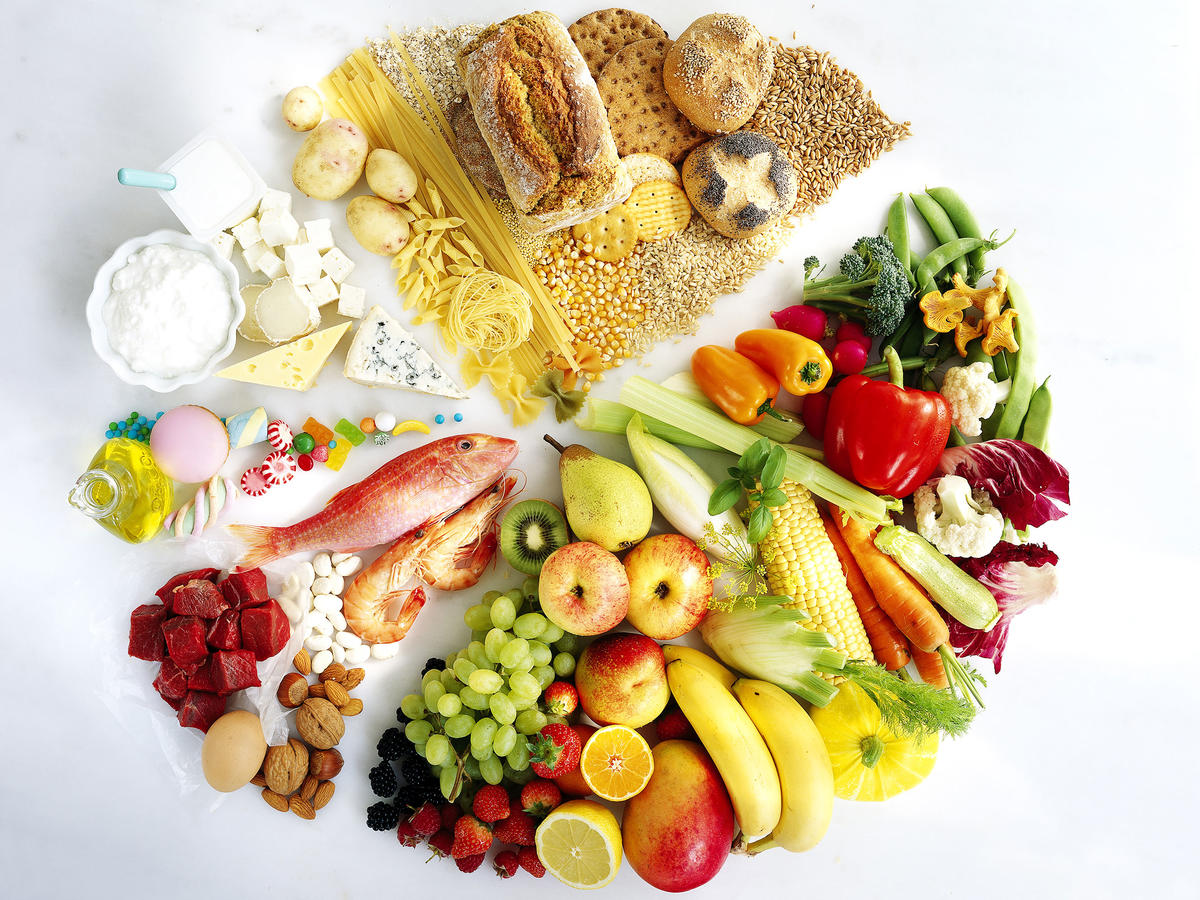 photo of a variety of foods forming a circle