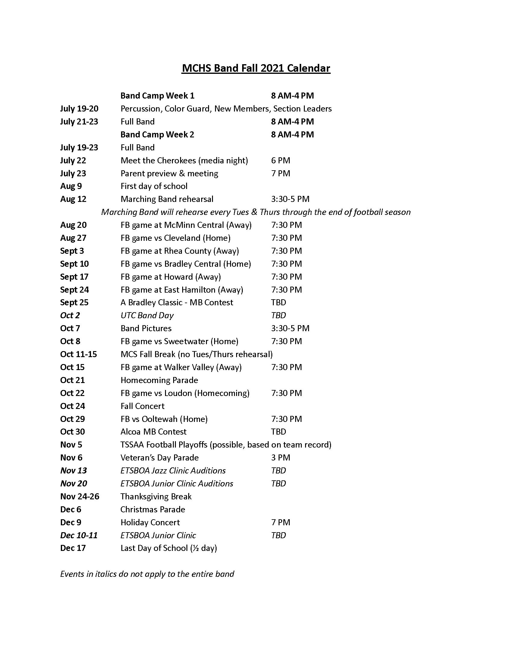 MCHS Band Fall 2021 Calendar