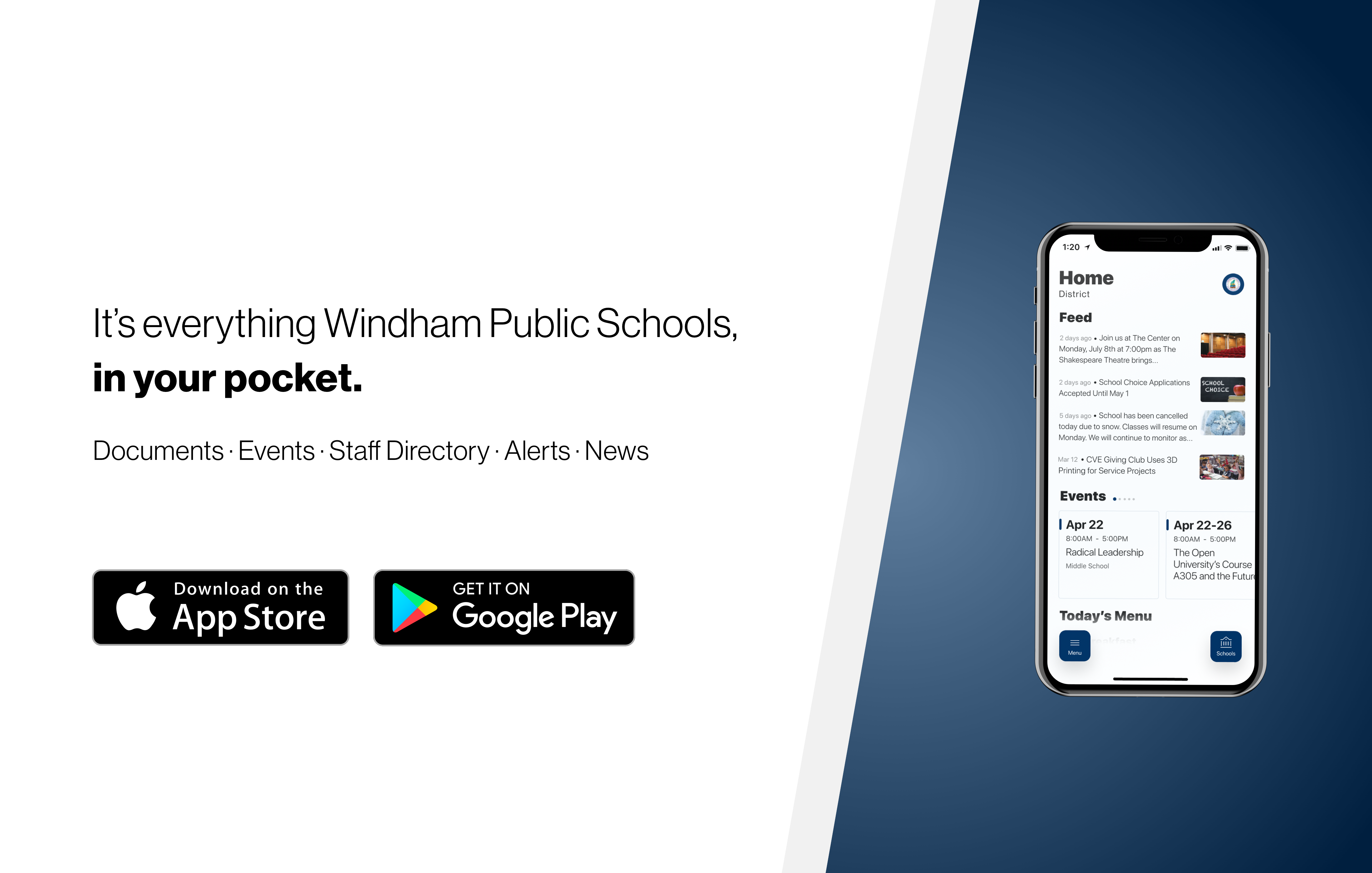 An. advertisement for the new school app