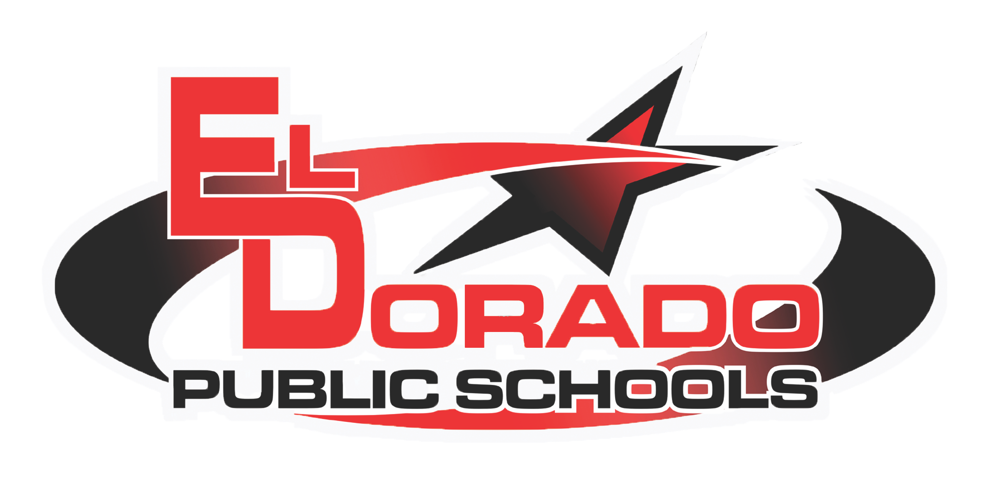 El Dorado Public Schools with black and red oval and a star above