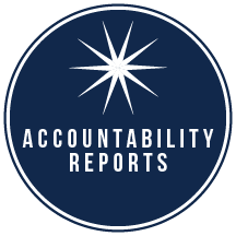 """Dark blue circle with a white 9-point starburst with """"Accountability Reports"""" in white text"""