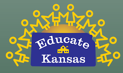 """""""Educate Kansas"""" white text in a blue box on top of a green rectangle with yellow stick people outlines"""