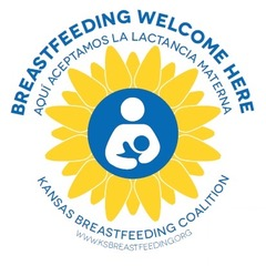 """Yellow circular shape with white stick person holding a blue stick person infant """"Breast feeding welcome here"""" in blue text around the image above and """"Kansas Breastfeeding Coalition"""" in blue text below"""