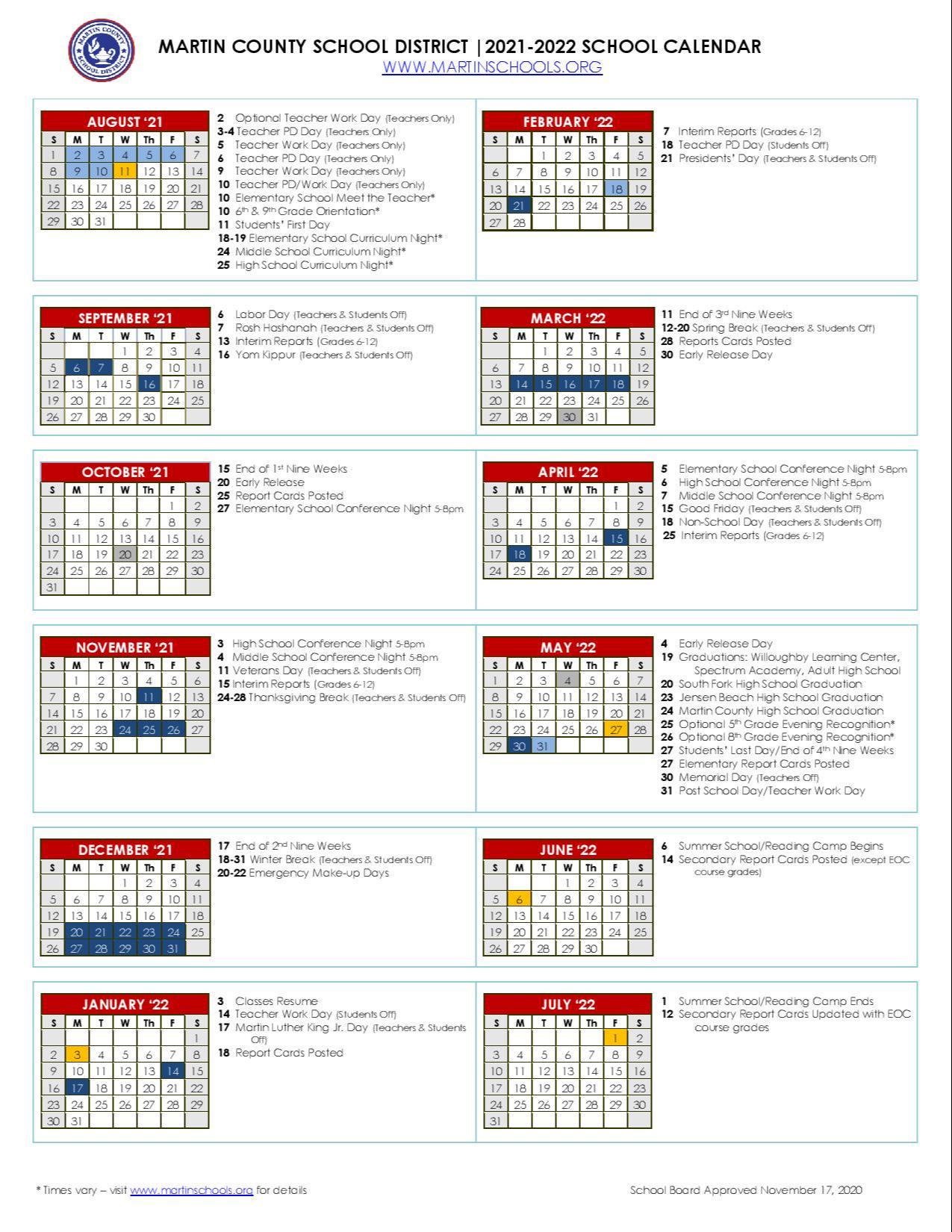2021-2022 Instructional Calendar