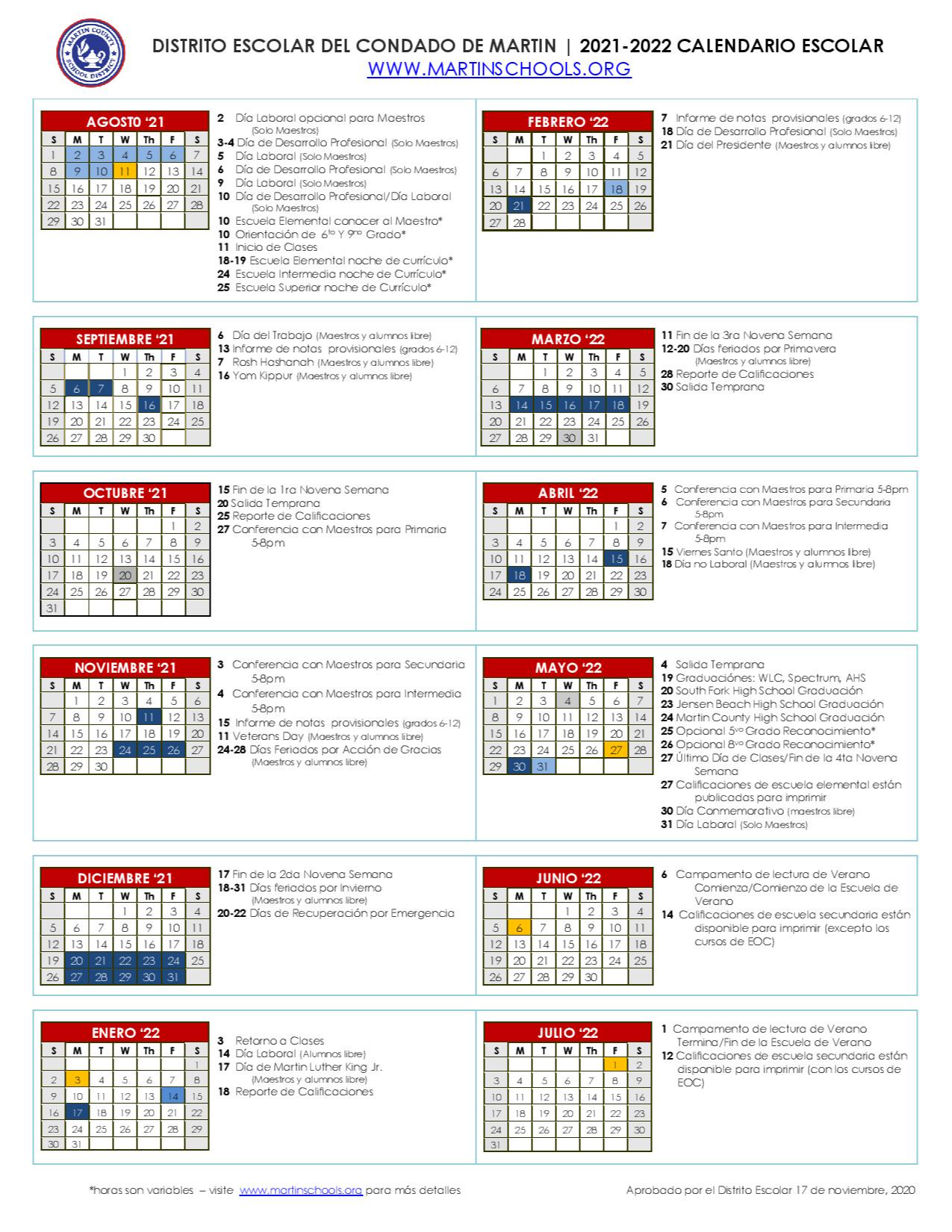 2021-2022 Instructional Calendar (Spanish)
