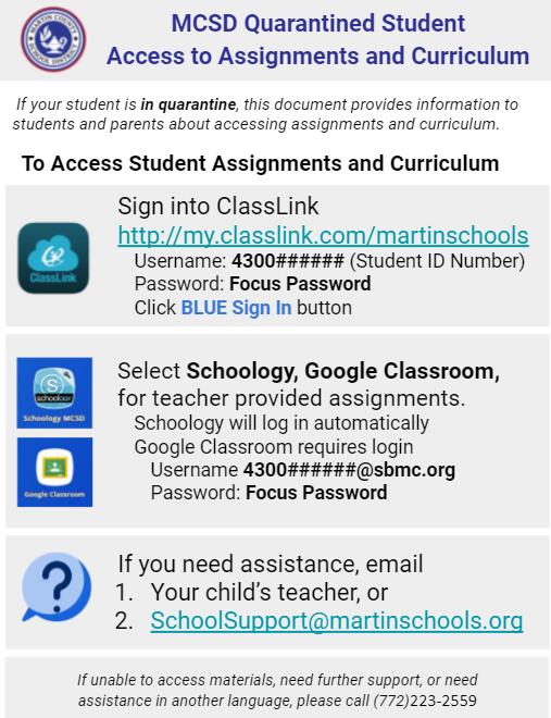 Quarantined Students - Instructions English