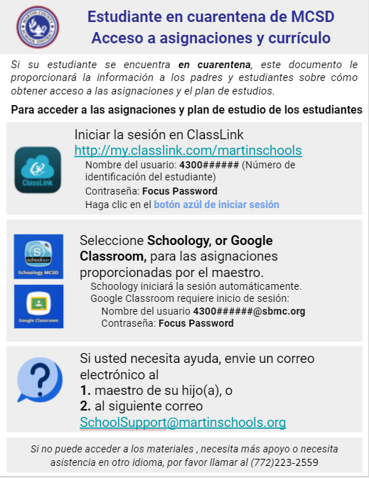 Quarantined Students - Instructions Spanish