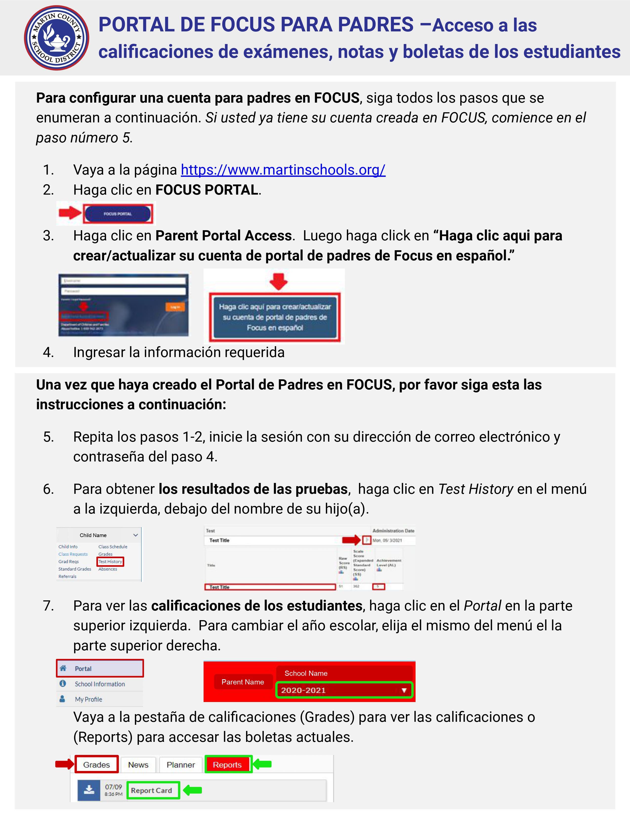 FOCUS Parent Portal Instructions - Spanish