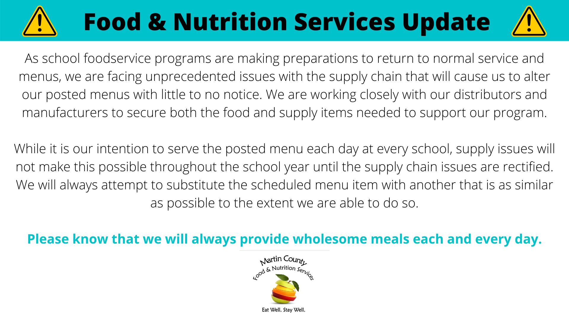 FNS Meal Update